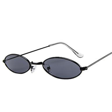 b60980a355 JoyJay Fashion Men Women Retro Small Oval Sunglasses Metal Frame Shades Unisex  Eyewear (A)  Amazon.co.uk  Clothing