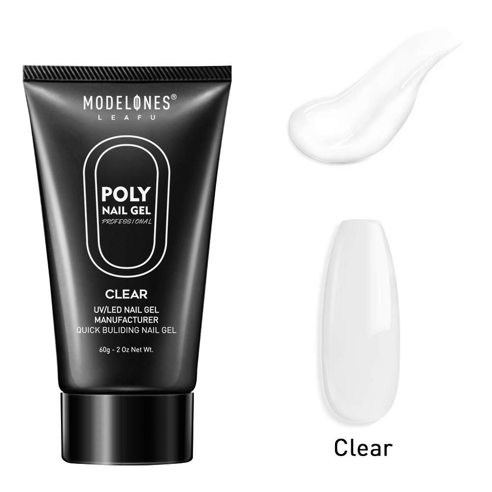 Modelones Clear Poly Nail Gel 60ML 2.02oz Nail Extension Gel Builder Gel Nail Enhancement Thickening Tool by modelones