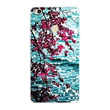 Aksuo Funda For Xiaomi Mi MAX 2 , TPU Anti-Rasguño Anti-Golpes Cover Protectora Transparente Claro TPU Caso Bumper Slim Silicona Case - Flores ...