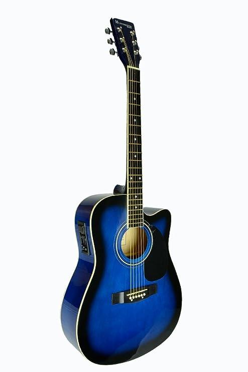 Tamaño Completo Azul Guitarra Eléctrica y Acústica Cutaway Con 3 EQ, y DirectlyCheap (TM