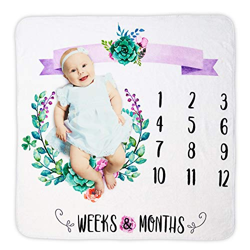 Empowa Baby Monthly Milestone Blanket Photo Prop Set Infant Newborn Baby Shower Gift for New Mum for Baby Boy Girl Flannel (Camera Free Gift Set)