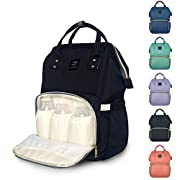 Diaper Backpack, Large Capacity Baby Bag, Multi-Function Travel Backpack Nappy Bags, Nursing Bag, Fashion Mummy, Roomy Waterproof for Baby Care, Stylish and Durable by Jewelvwatchro (Retro Black)