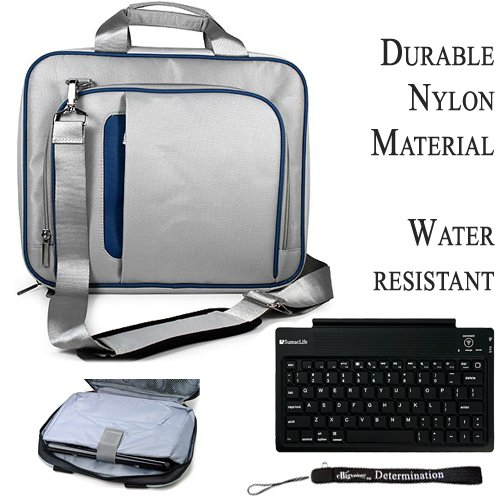 eBigValue Pro Messenger Bag Soft Nylon Carrying Case (Blue Silver) For Asus Eee Slate EP121 Notebook 12.1 inch Screen