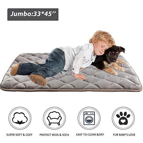 Furrybaby Dog Bed Mat Crate Mat with Anti-Slip Bottom Machine Washable Pet Mattress for Dog Sleeping (XL 44x32'', Sliver Grey Mat)