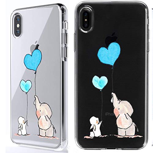 iPhone X Case, HUIYCUU Cute Animal Design Slim Fit Soft TPU Silicone Cover with Funny Pattern Thin Clear Protective Skin Gift Unique Novelty Bumper Back Case for iPhone X,Bunny Elephant Love Ball