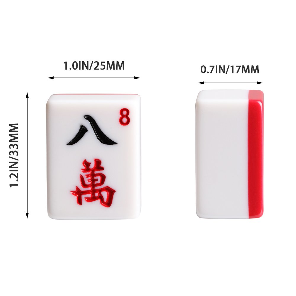 X-Large Numbered Tiles Mahjong Game Set. 144 Lucky Dog Pattern Aluminum case Complete set with pusher & table cover Gift / Birthday green/red/blue(Mah-Jongg, Mah Jongg, Majiang高品质麻将) (red) by We pay your sales tax (Image #4)