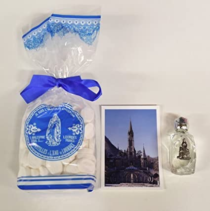 Agua mentolada de Lourdes, y botella de 300 g de agua bendita de Lourdes