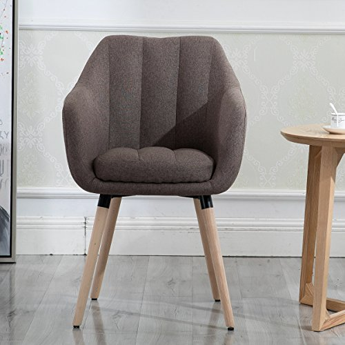Living Room Chair, Contemporary Modern Muted Fabric Accent Arm Chair with Solid Bentwood Legs, Brown ()