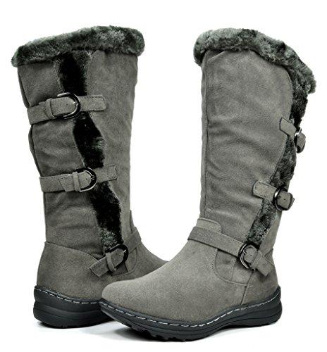 DREAM PAIRS Women's Winter Fully Fur Lined Zipper Closure Snow Knee High Boots Minx-camel-wide-calf