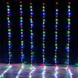 wsloftyGYd 320Pcs LED 3x3m Waterfalls Shape String Fairy Lights Wedding Party Xmas Decor Multicolor