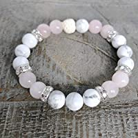 Rose Quartz Howlite Essential Oil Diffuser Bracelet, Women's Aromatherapy Bracelet, Anxiety Jewelry