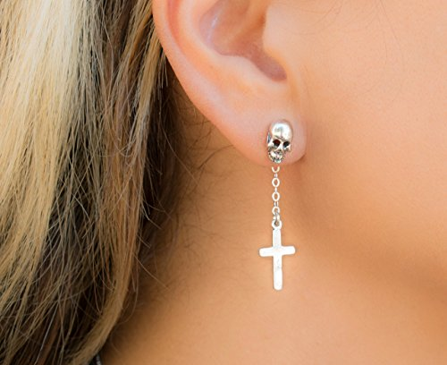 (Skull and Cross Goth Earring Skeleton Gothic Edgy Lobe Jewelry Biker Piercing Punk Rock Sterling Silver Stud)