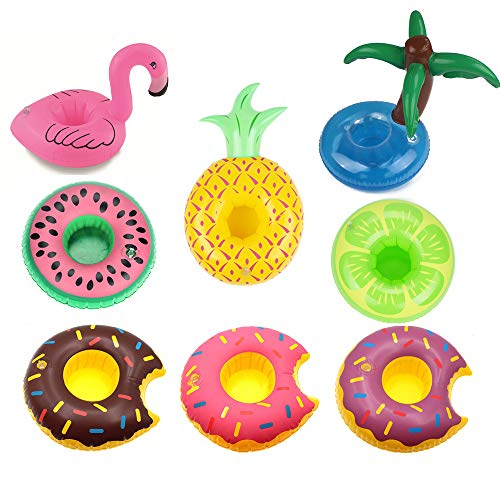Inflatable Drink Holders,9 Pack Unicorn Flamingo Plam Donut Fruit Inflatable Party Cup Holders,Party Supplies Pool Beach Festival Holiday Birthday Halloween Christmas For Party Fun -