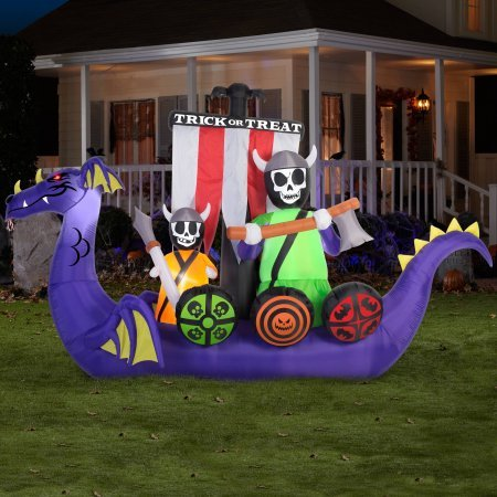 Gemmy Airblown Inflatable 7.5' X 12' Giant Animated Viking Ship Halloween Decoration]()