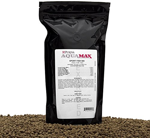 (Aqua Max Sport Fish 500, 3/16 Inch(4.8mm) Extruded Floating Fish Food For Trout, Bluegill, Hybrid Striped Bass, Feed Trained Largemouth Bass, Yellow Perch, Sunfish, Crappie, Red Drum, and Many Other Species, 18 Ounces)