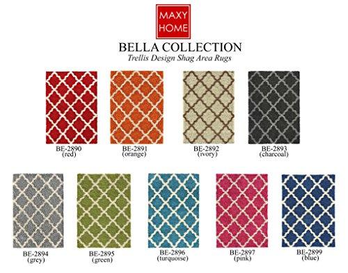 Maxy Home Bella Trellis Red 1 ft. 8 in. x 2 ft. 7 in. Shag Door Mat