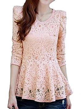 Blusa de encaje rosa/blanco/negro, U Cuello Manga Larga Con Peplum,