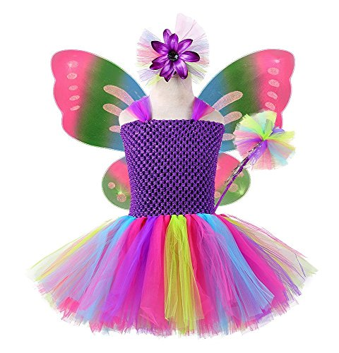Tutu Dreams Kids Fairy Butterfly Costume with Dress, Wings, Wand and Hairpin