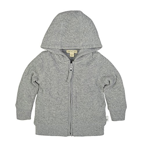 Quilted Hooded Zip Sweatshirt - Burt's Bees Baby Unisex Baby Sweatshirts, Lightweight Zip-Up Jackets & Hooded Coats, Organic Cotton, Heather Grey Quilted Jacket, 0-3 Months