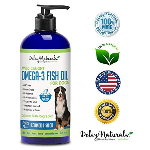Wild Caught Fish Oil for Dogs – Omega 3-6-9, GMO Free – Reduces Shedding, Supports Skin, Coat, Joints, Heart, Brain, Immune System – Highest EPA & DHA Potency – Only Ingredient is Fish – 32 oz