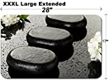 MSD Large Table Mat Non-Slip Natural Rubber Desk Pads Image ID 19983517 Spa Stones and White Flowers on Dark Background