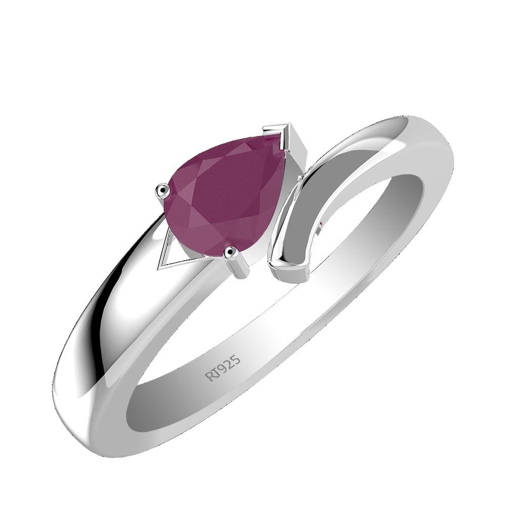 0.65ctw Genuine Ruby Pear /& Solid .925 Sterling Silver Rings