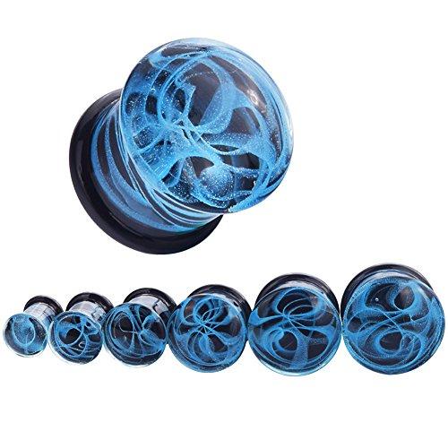 Longbeauty 2Pcs Glass Blue Fantasy Swirl Lines Ear Tunnels and Plugs Expander Gauge 0g
