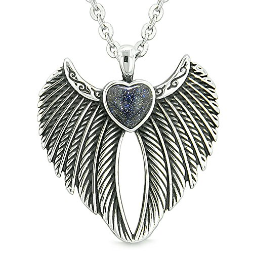 - Angel Wings Magic Heart Protection Powers Amulet Blue Goldstone Pendant 18 inch Necklace