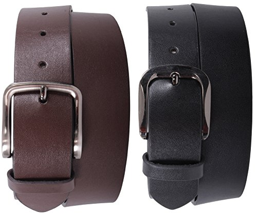 Stitch Leather Dress Belt (Enimay Men's 2 Pack Black Brown Bonded Leather Belt Adjustable Metal Buckle Black Buckle | Classic)
