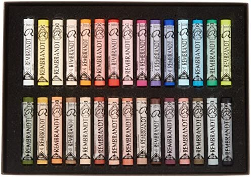 Royal Talens Rembrandt Soft Pastels General Wood Box Set, 30 Sticks