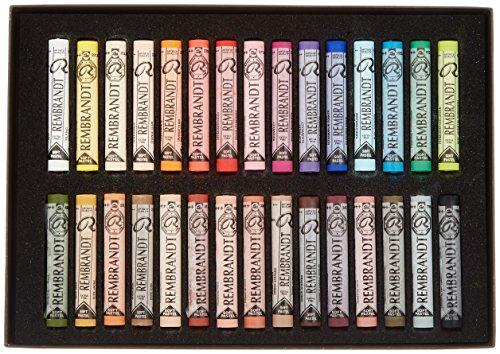 Rembrandt Royal Talens Soft Pastels General Wood Box Set, 30 Stick
