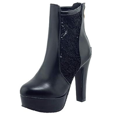 YE Stiefeletten Damen Plateau Stiefeletten YE Blockabsatz High Heels Ankle Stiefel ... 8e0c84
