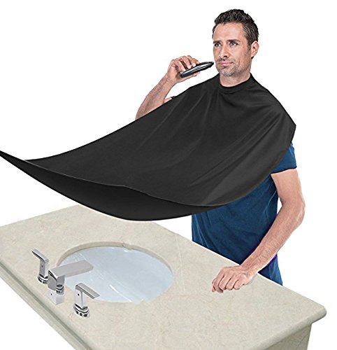Beard Apron,Beard Bib Catcher Beard Apron Cape for Shaving with Strong Mirror Suction Cups for Dad Father Boyfriend Brother ()