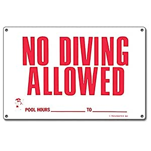 Poolmaster 40342 No Diving Allowed Sign for Residential or Commercial Pools