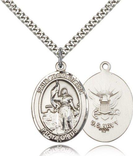 Icecarats Créatrice De Bijoux En Argent Sterling St. Jeanne D'Arc / Marine Pendentif 1 X 3/4 Pouces