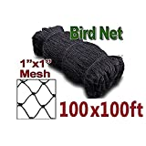 boknight 100' X 100' Net Netting for Bird Poultry Aviary Game Pens New 1'' Square Mesh Size (100' X 100'-1'')