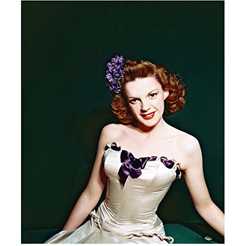 Judy Garland 8x10 Photo The Wizard of Oz A Star is Born Easter Parade in Strapless White Dress w/Purple Ribbon & Purple Flowers in Hair - Strapless Ribbon