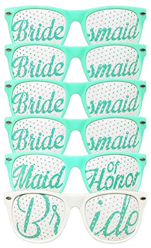 ADJOY Bridal Bachelorette Photo Booth Props - Wedding Party Sunglasses for Bride and Bridesmaid Selfie Kit with 6 Pairs of Themed Novelty Glasses for Memorable Moments and Fun Photos (Aqua)