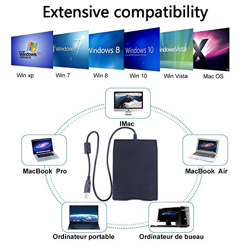 3.5'' USB External Floppy Disk Drive Portable 1.44 MB FDD for PC Windows 2000/XP/Vista/7/8/10 Mac,No Extra Driver Required,Plug Play,Black by Dainty (Image #1)