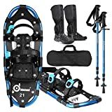 Odoland 4-in-1 Lightweight Snow Shoes Set for Men and Women, Easy to Use Snowshoes with Trekking Poles, Waterproof Snow Leg Gaiters and Carrying Tote Bag, Size 21''/25''/30''