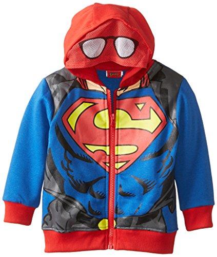 CAN DC Comics Baby Little Boys' Superman Fleece Masked Hoodie, Blue, 2T]()