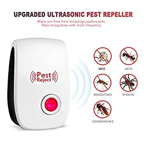 Pest Control Ultrasonic Repeller-【2018 Upgraded】-Mouse Repellent Electronic Plug with Night Light for Indoor Insects, Mice, Spiders, Ant, Bed Bug, Roach, Mosquito-Non-toxic Eco-friendly