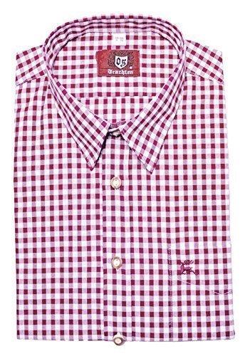Trachtenhemd weiß rotton pink M