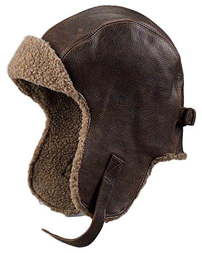 Leather Pilot Cap - Frr Vintage Distressed Leather Pilot Hat - XL