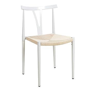 Amazon De Hlc 50 47 80 Cm Metall Modern Stuhl Weiss Fur Buro Und