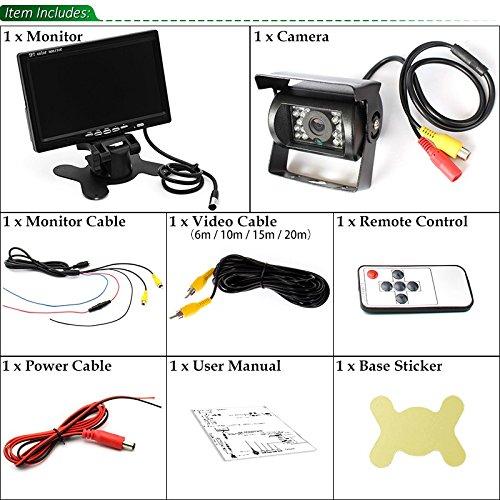 C/ámara de visi/ón trasera en espera de visi/ón nocturna para autom/óviles a prueba de agua de 18LEDs Pantalla a color TFT LCD HD de 7 para remolques sin l/ínea de estacionamiento con cable de video 10M