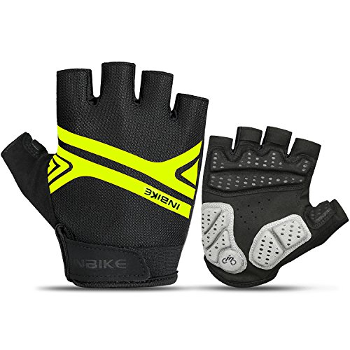 INBIKE Mountain Bike Gloves, Cycling Gloves Half Fingers MTB DH Road Riding Bicycle Biking Men Women Green XL