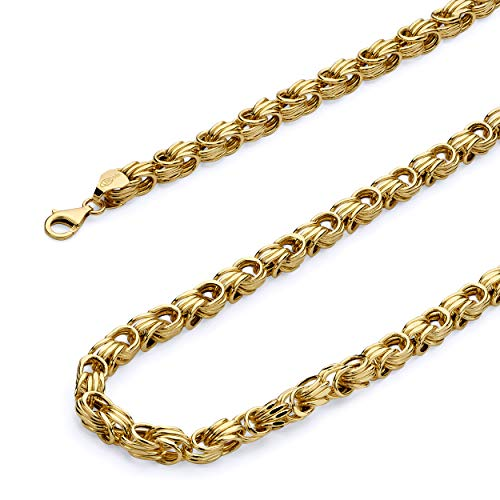 Yellow Gold Hollow Byzantine Chain - Wellingsale 14k Yellow Gold 5.5mm Hollow Square Byzantine Chain Bracelet with Lobster Claw Clasp - 8.5