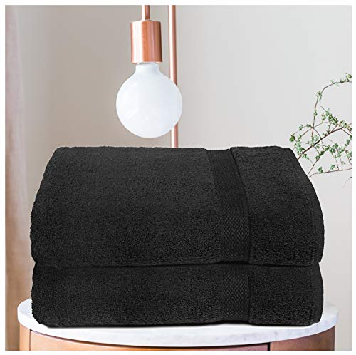 - Ramanta Home Premium Cotton Oversized 2 Pack Bath Sheet - 100% Pure Cotton - Machine Washable - Luxurious & Highly Absorbent - Hotel and Spa Quality - Idea for Daily Use - Black - 35 x 70 inches