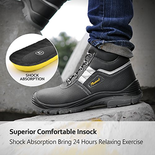 SAFETOE Mens Safety Toe Work Boots - M8027 Wide Fit Lady Leather Waterproof Slip Resistant Safety Shoes Black b0GXiR6